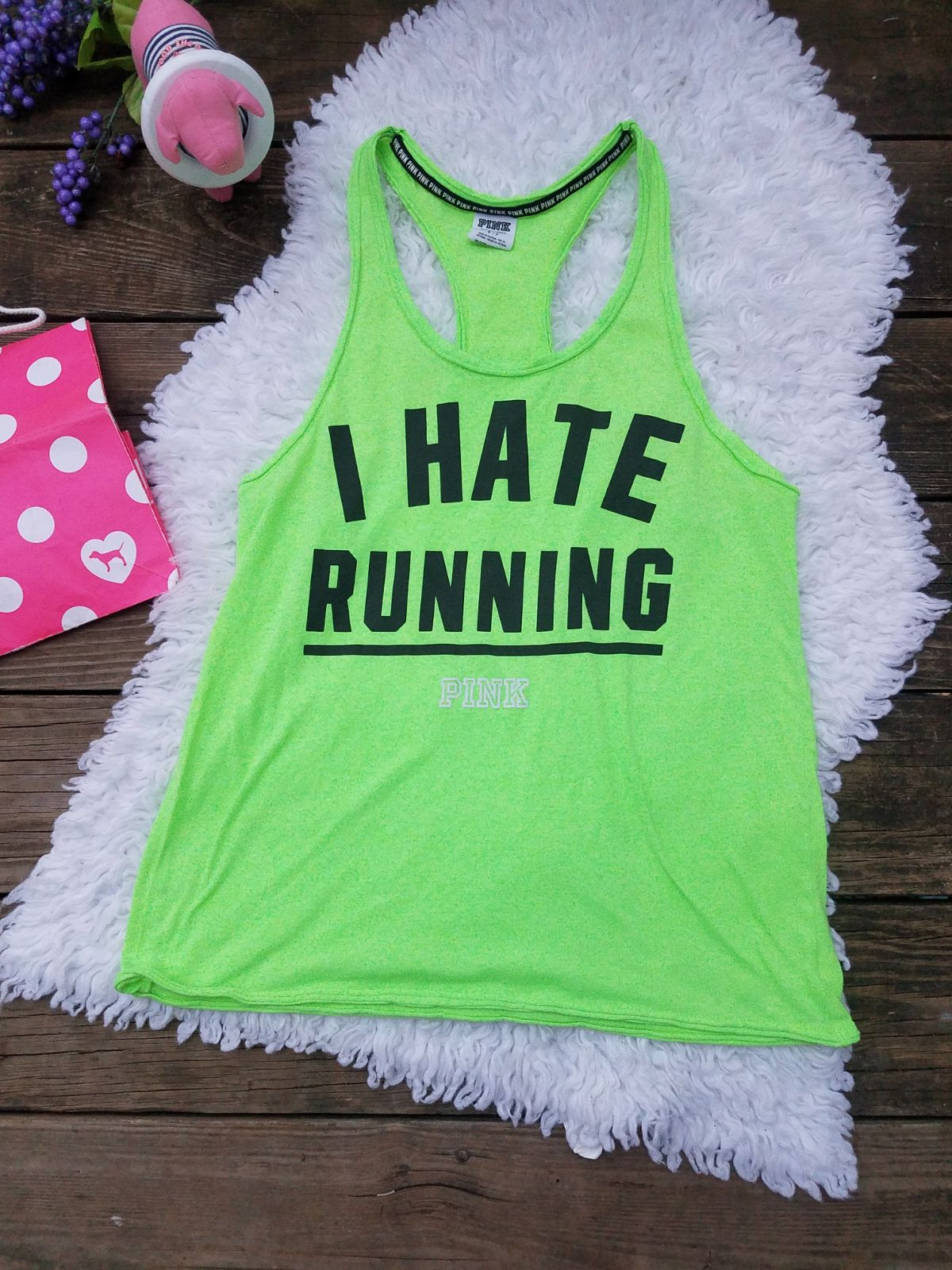 I Hate Running VS PINK Tank Top SMALL