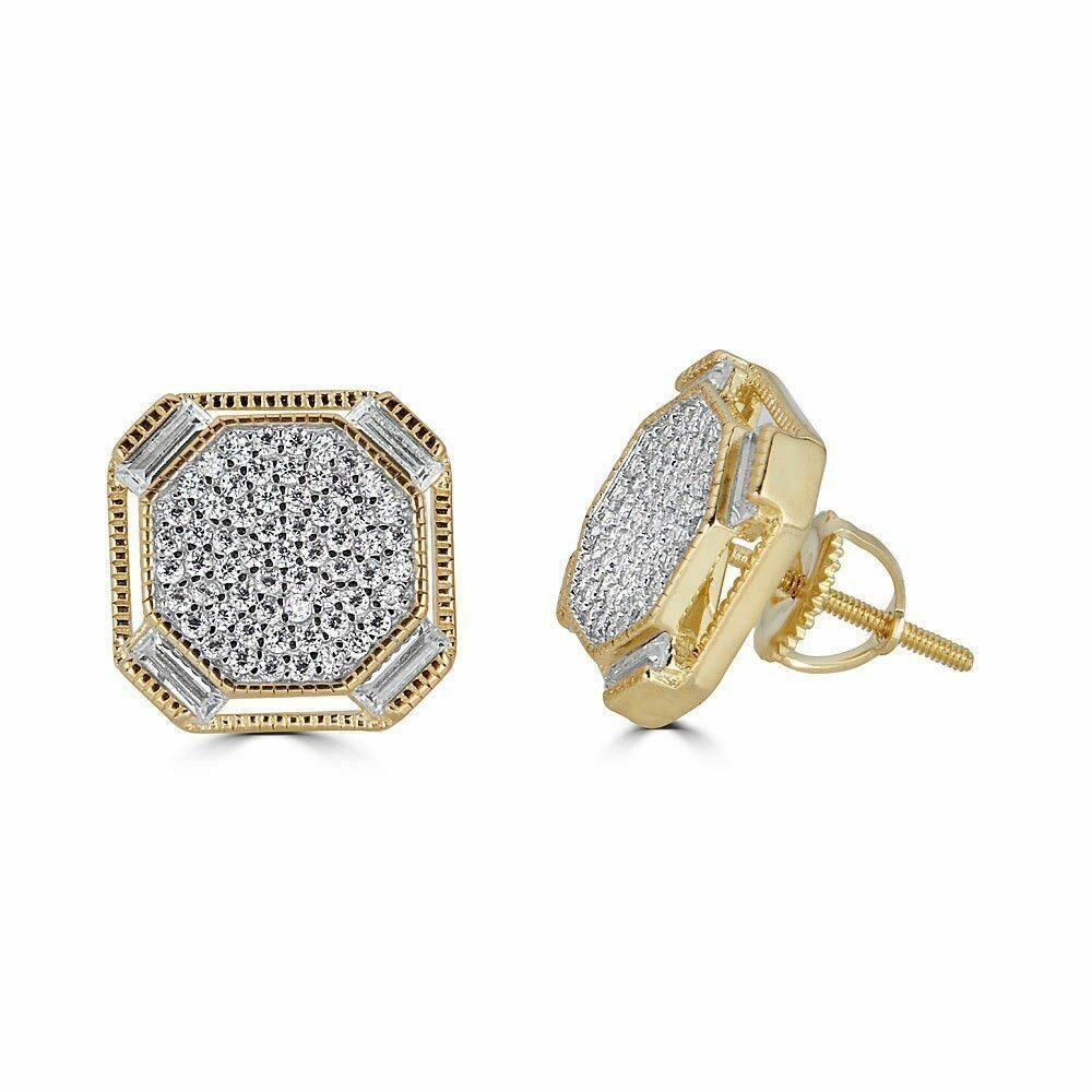 Gold & Silver Baguette Diamond Earrings