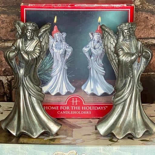 Pewter Angel Candle Stick Holders