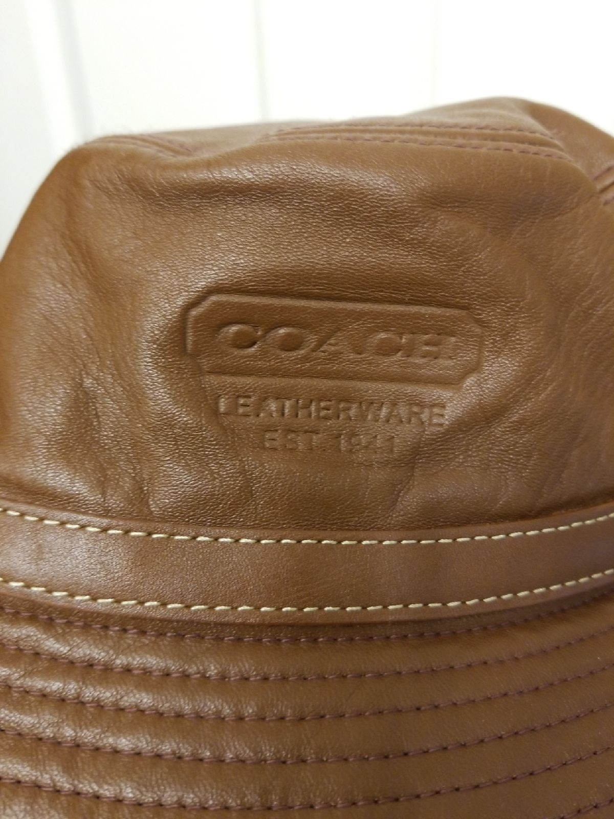 Coach leather hat
