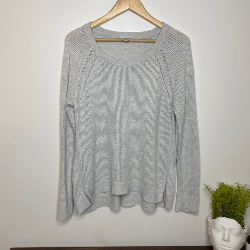 Loft Oatmeal Knit Crewneck Sweater