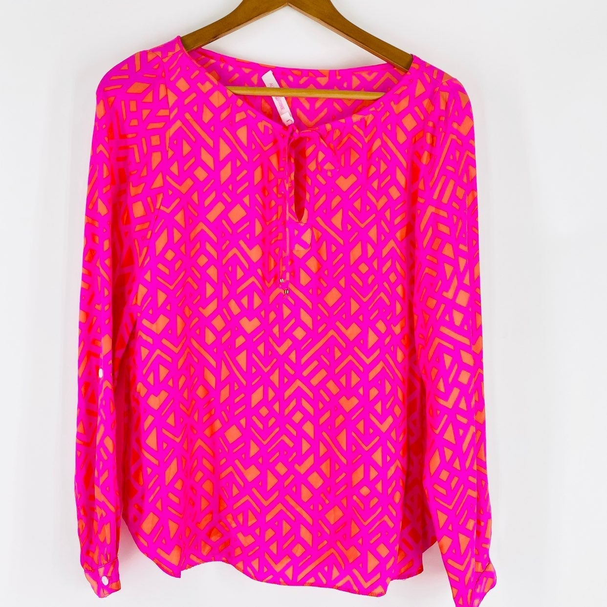 Alice & Trixie 100% Silk Blouse Top Pink