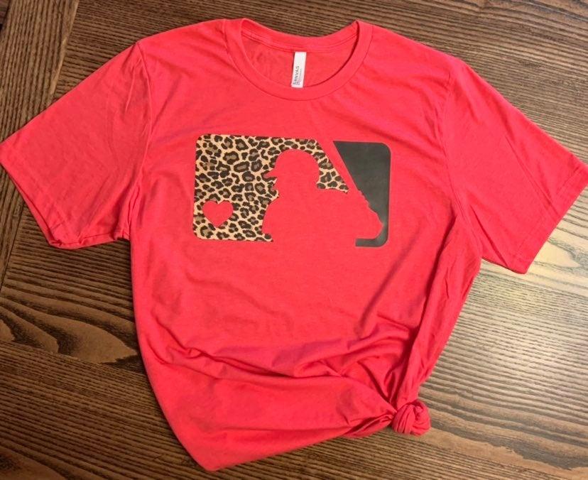 Large Cheetah Baseball Bella+Canvas tee
