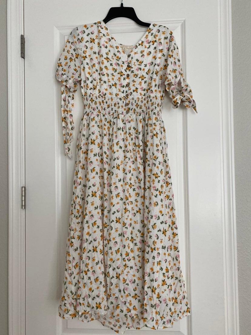 Ivory Floral Tie Sleeve Dress,  XL