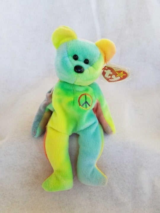TY Peace Beanie Baby Neon Blue And Green #102