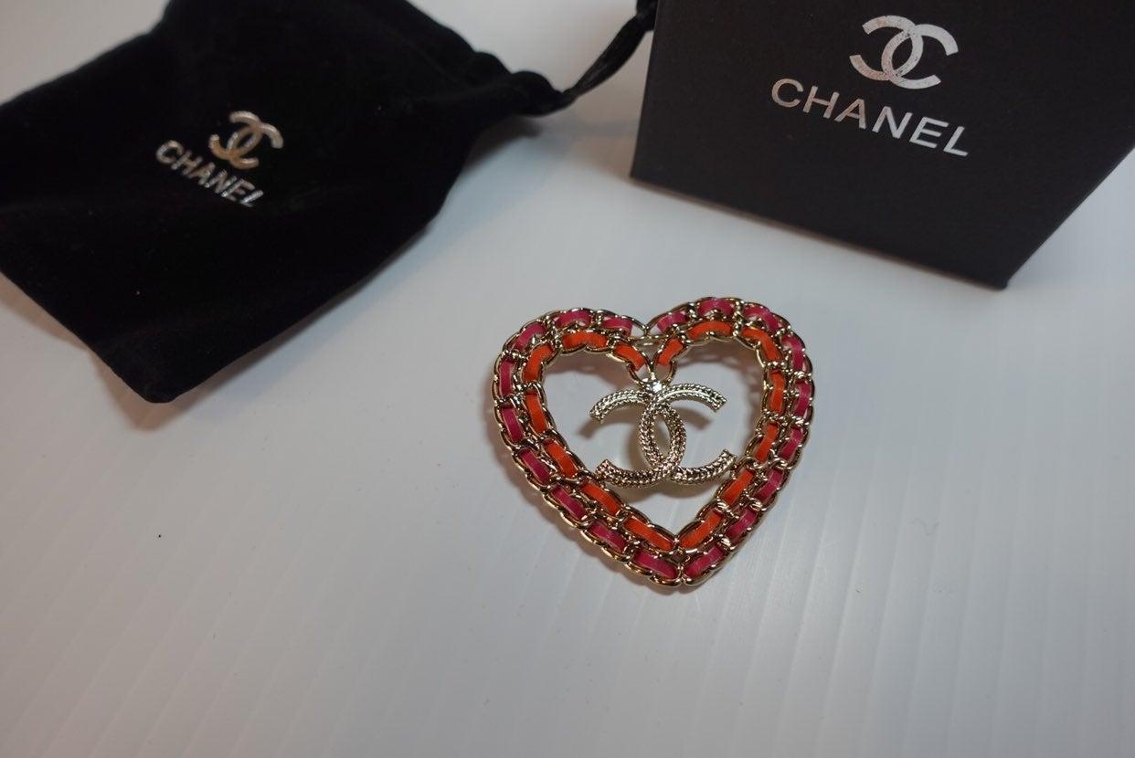 Chanel Heart Leather Brooch