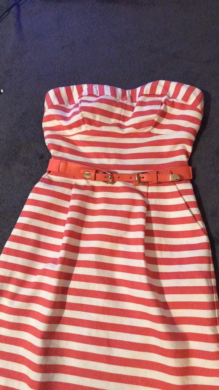 Striped-belted dress