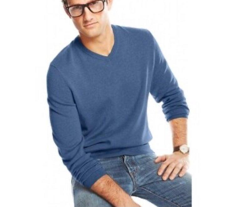 Men's Cashmere Sweater, Blue, XXL