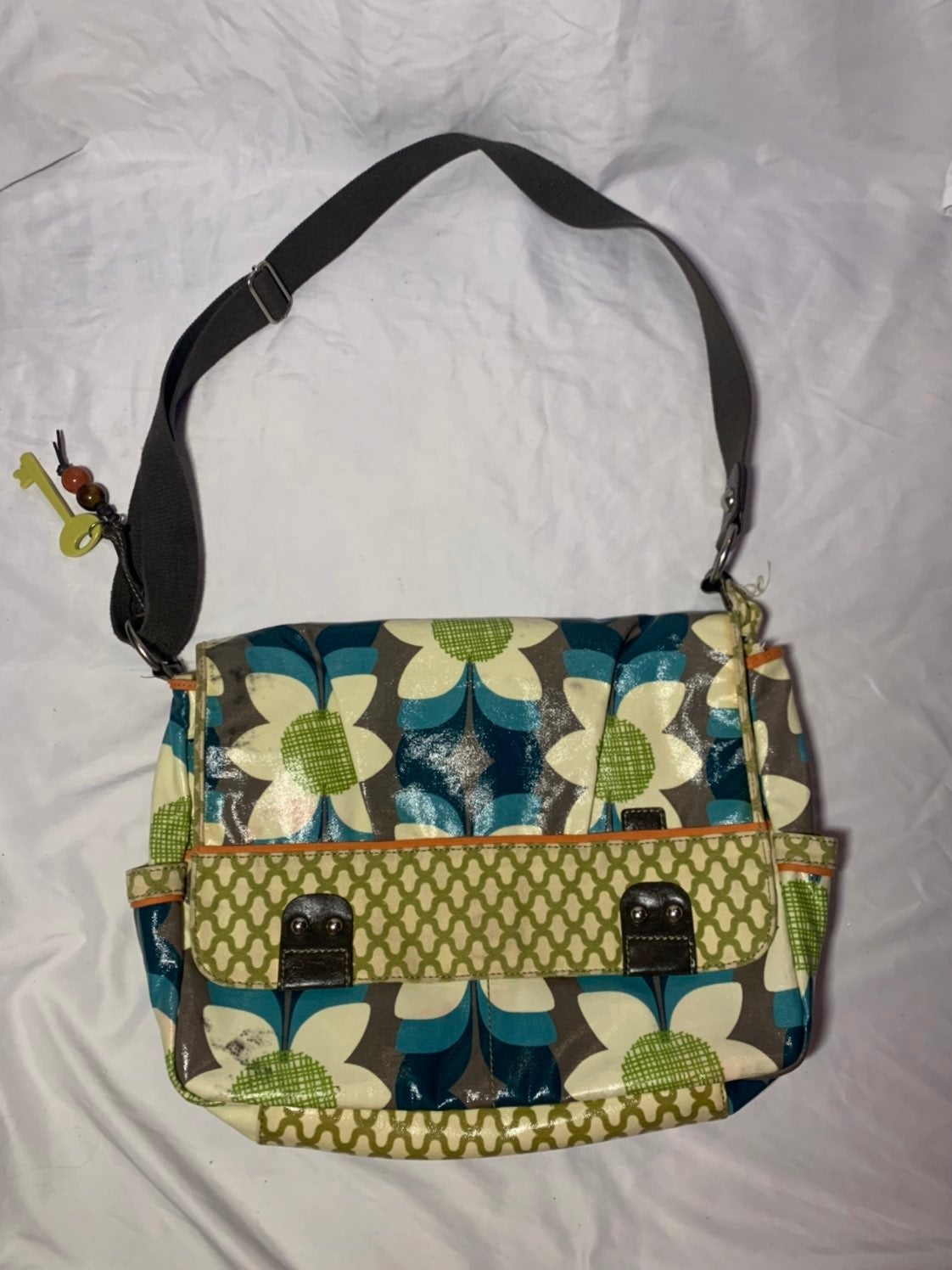 Fossil Key Per Coated Canvas Messenger