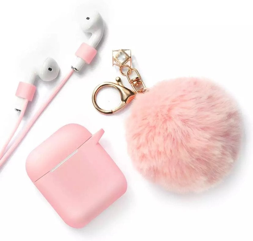 Pink Airpod Case with Pompom Charm