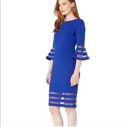Calvin Klein Bell Sleeve SheathSheer Ins