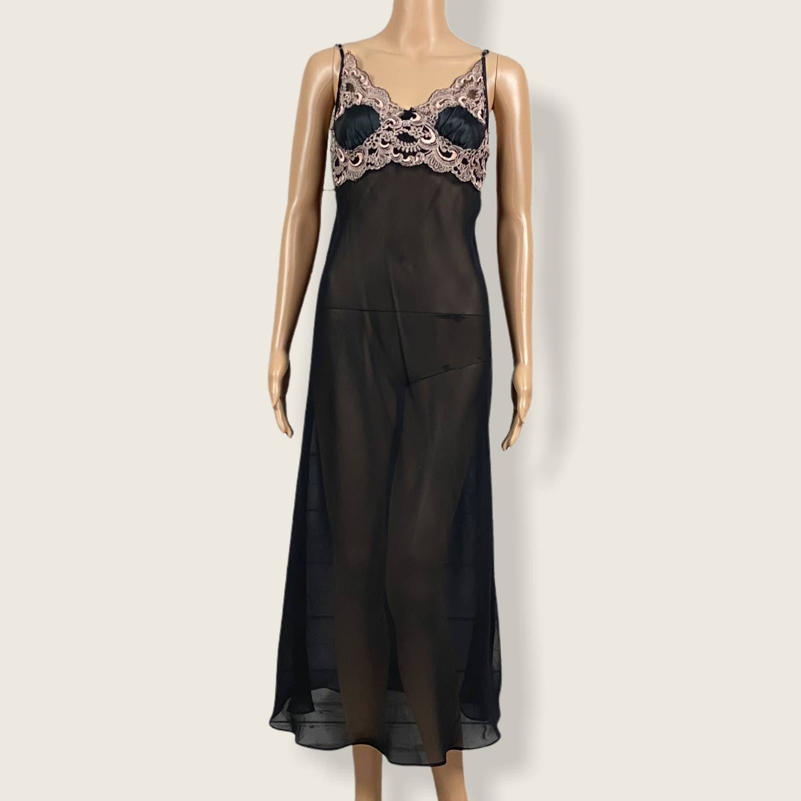 Delicates Sheer Lace Negligee Nightgown