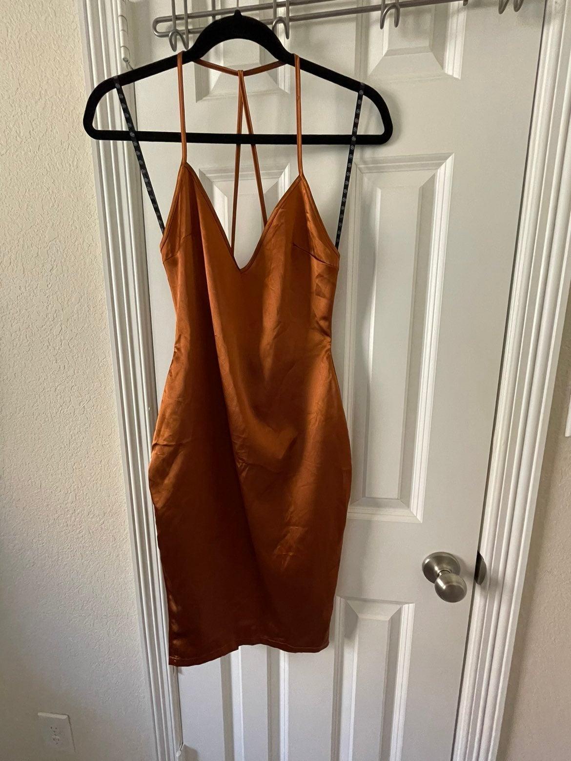 Missguided Rust Copper Satin Dress