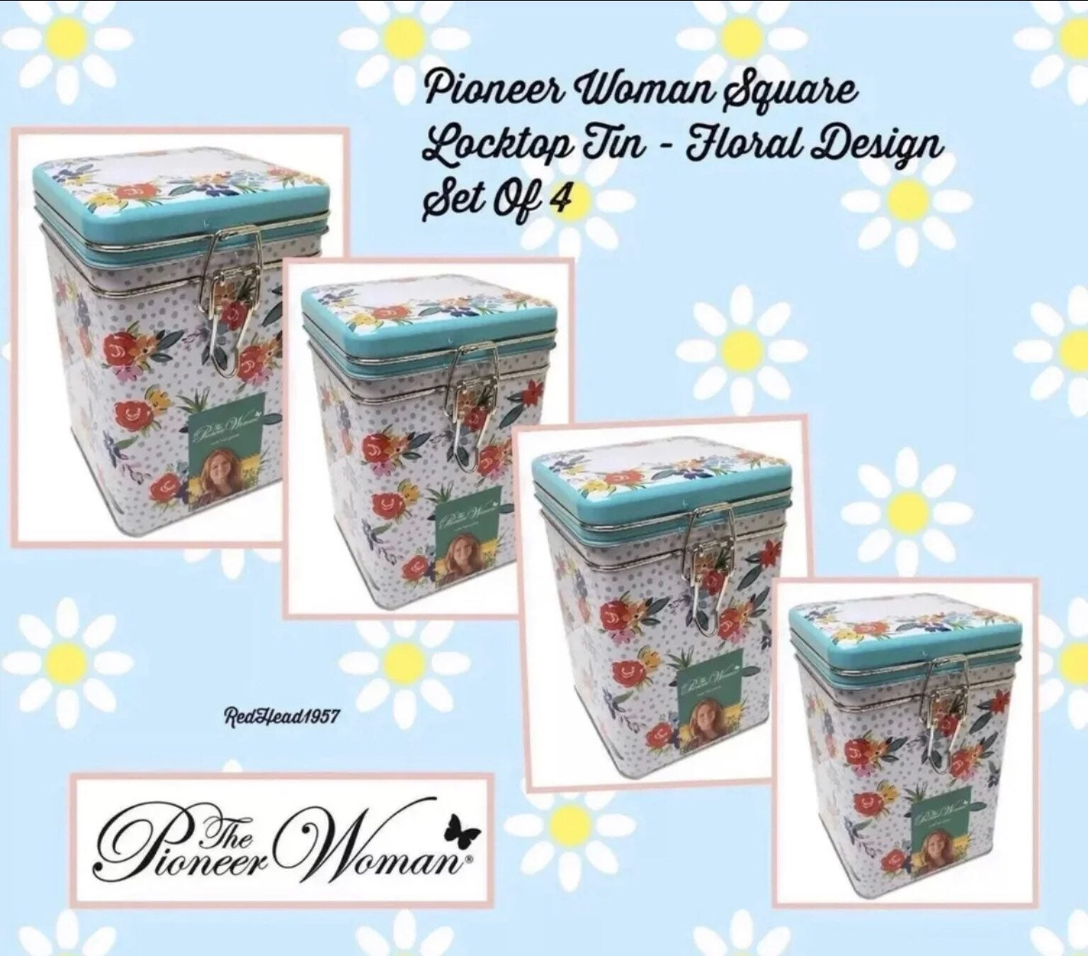 Pioneer Woman Tin Canisters Set Of 4