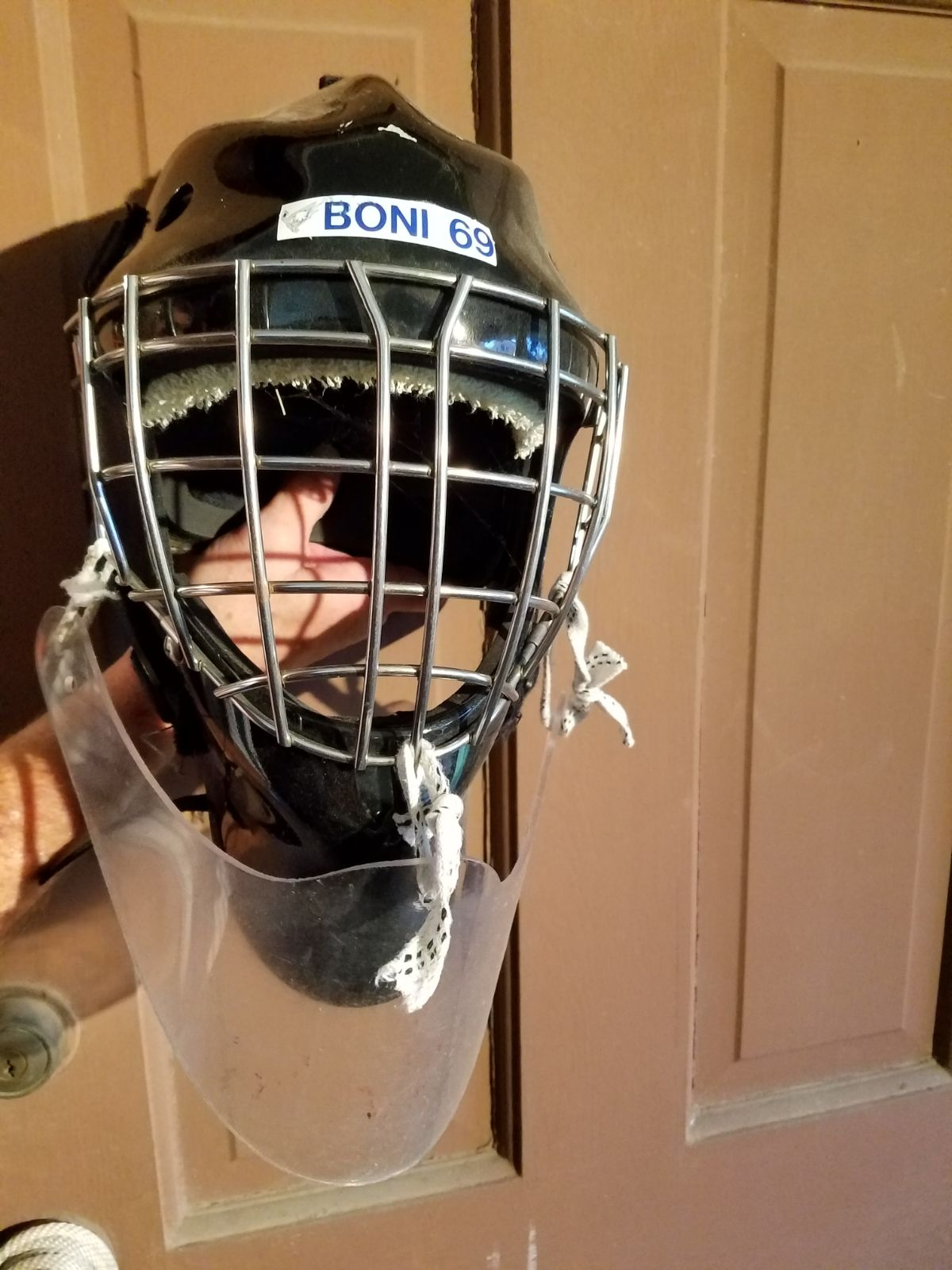 Hockey goalie Helmet black with neck pro