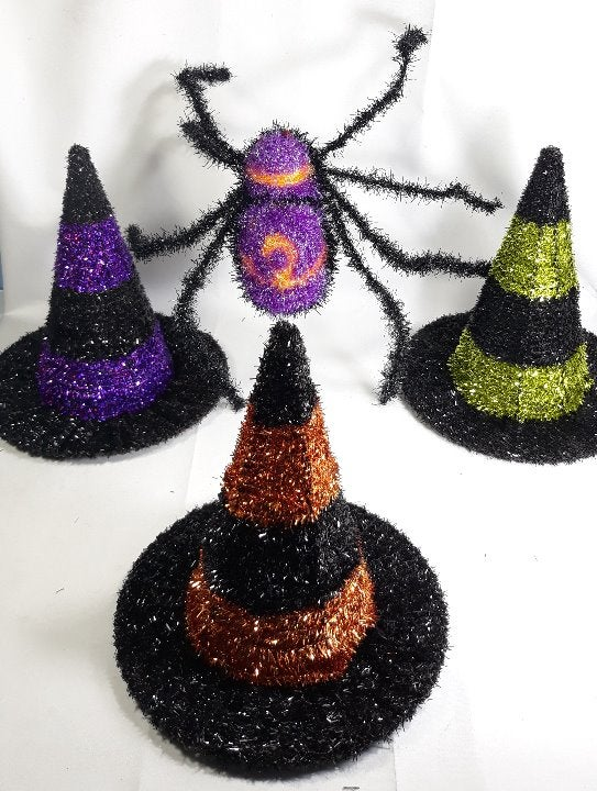 Tinsel Witch Hat & Spider Halloween Set