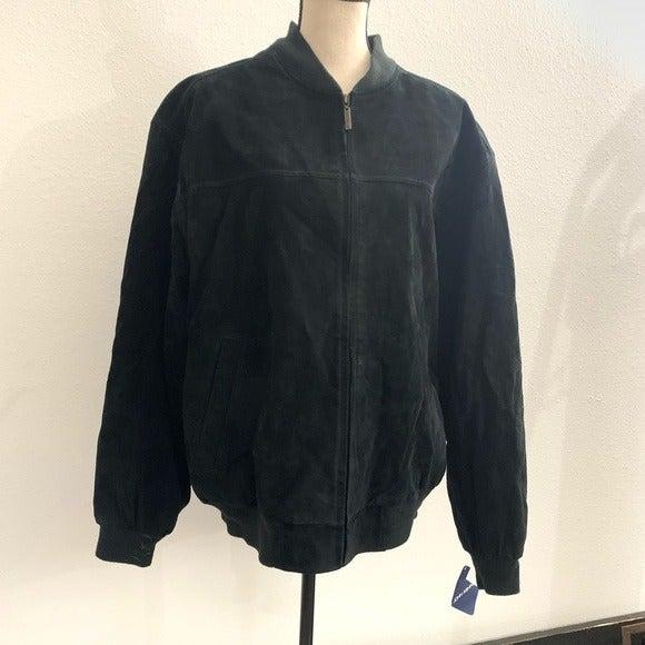 John Ashford  black leather suede jacket
