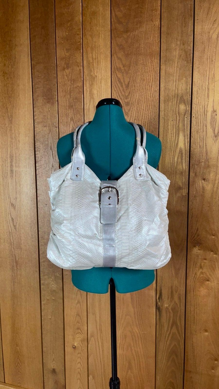 Silver Snake Skin Hobo Shoulder Bag
