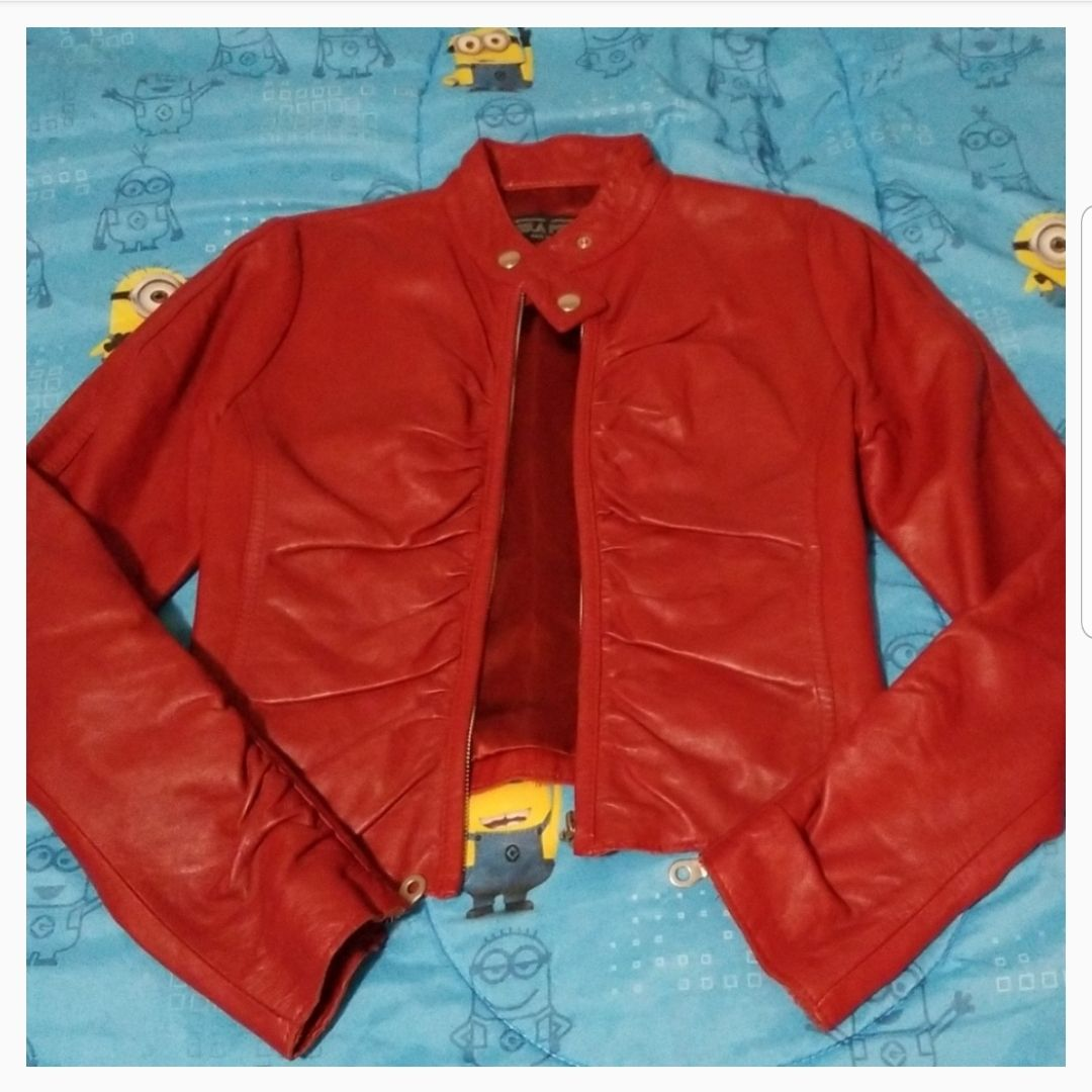 Vera Pelle Red Leather Jacket Italy made