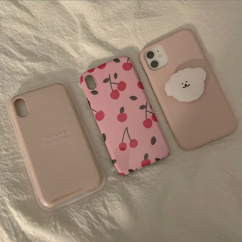 Iphone xr pink silicone cherry case