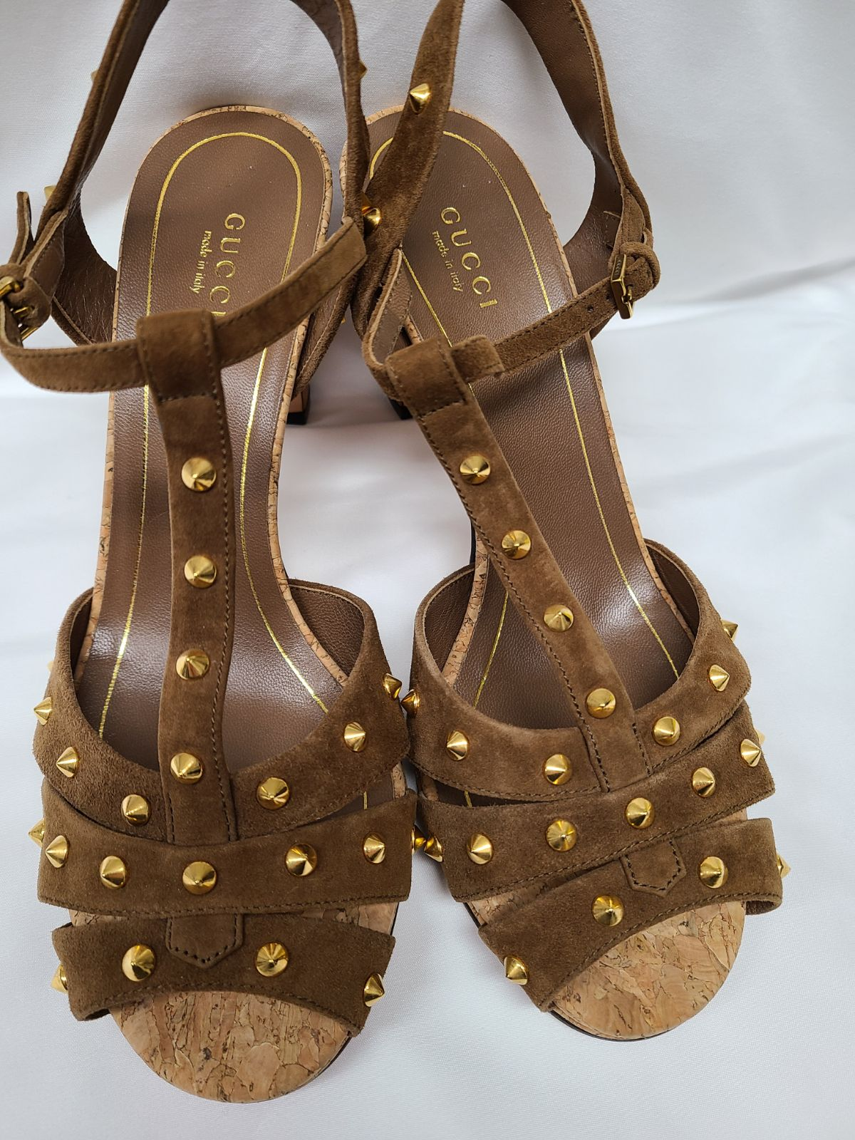 Gucci Suede Studded T-Strap Sandals
