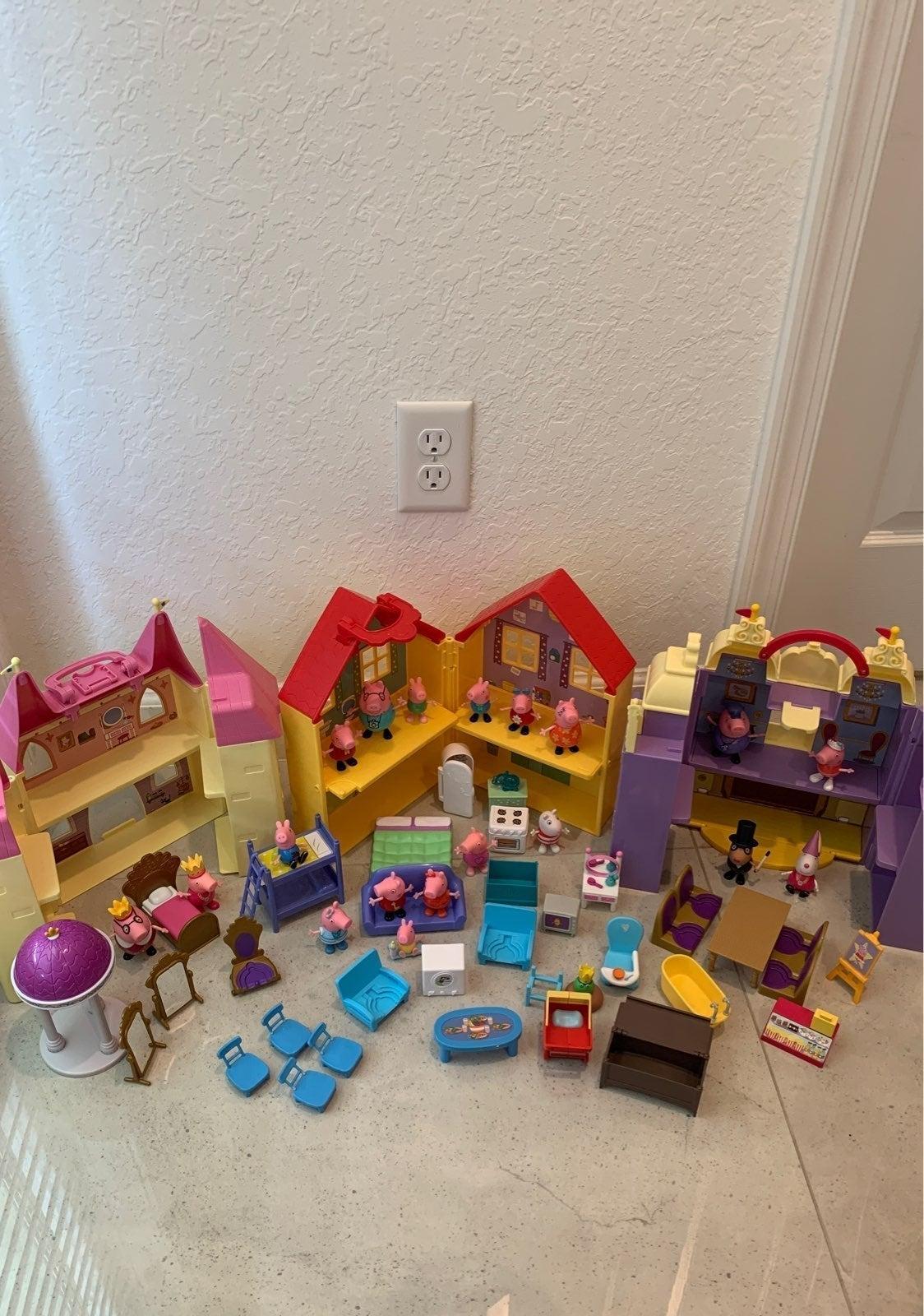Peppa Pig House Car Castle Dolls Toy LOT