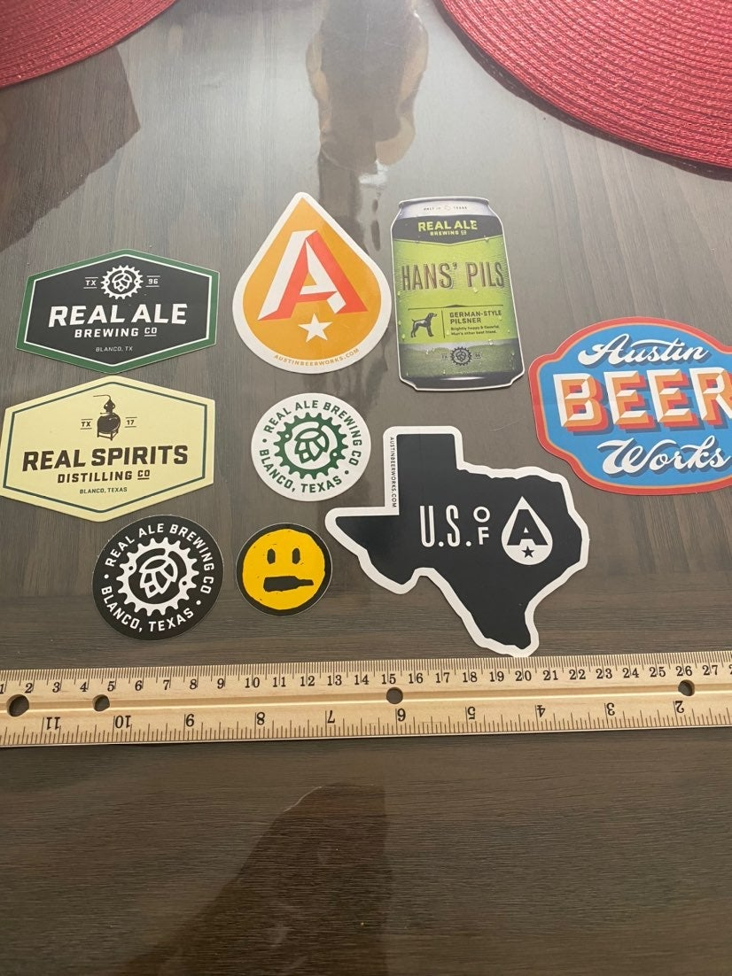 Texas Brewing beer stickers !!! Lot of 9