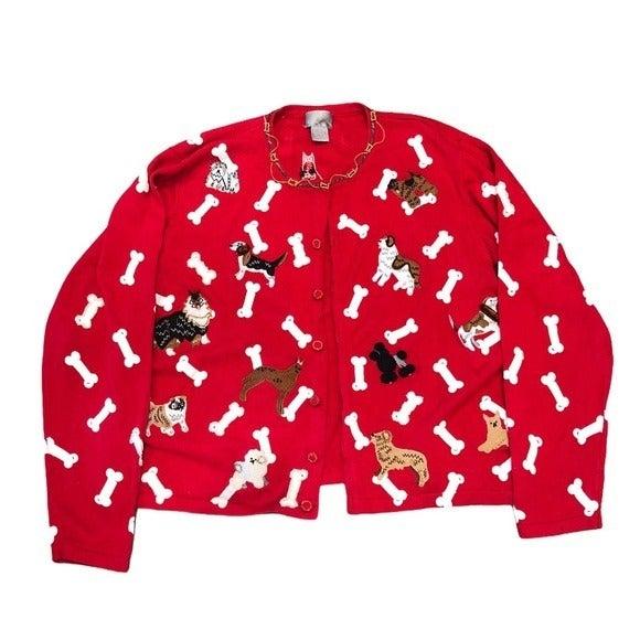 Berek Dog BeadedGraphic Cardigan Sweater