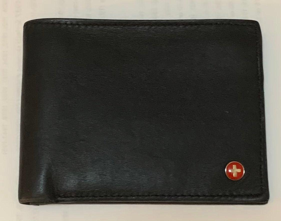 Men's Black Leather Wallet Alpine Swiss
