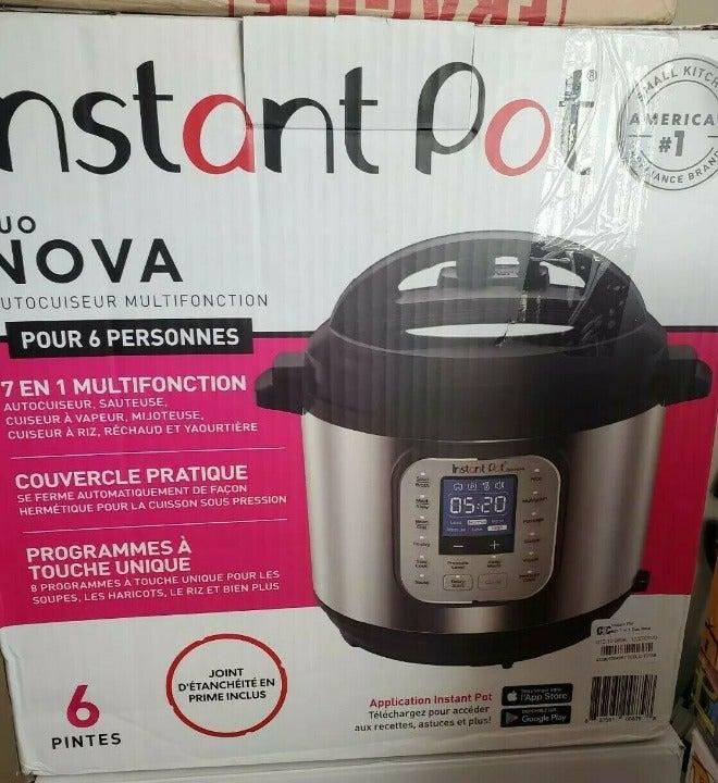 6 QT Instant pot Duo Nova Multi Use Pressure Cooker 6 quart 7 in 1 One touch 6QT
