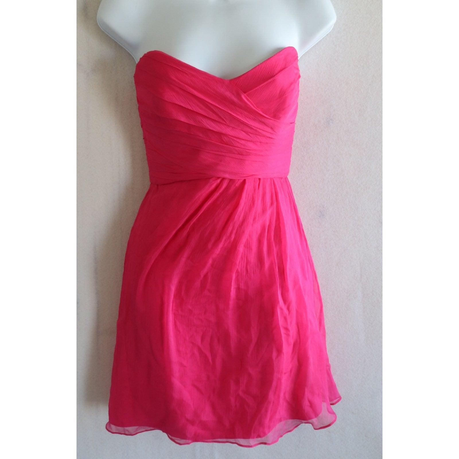 Amsale 100% Silk Strapless Dress Sz 6