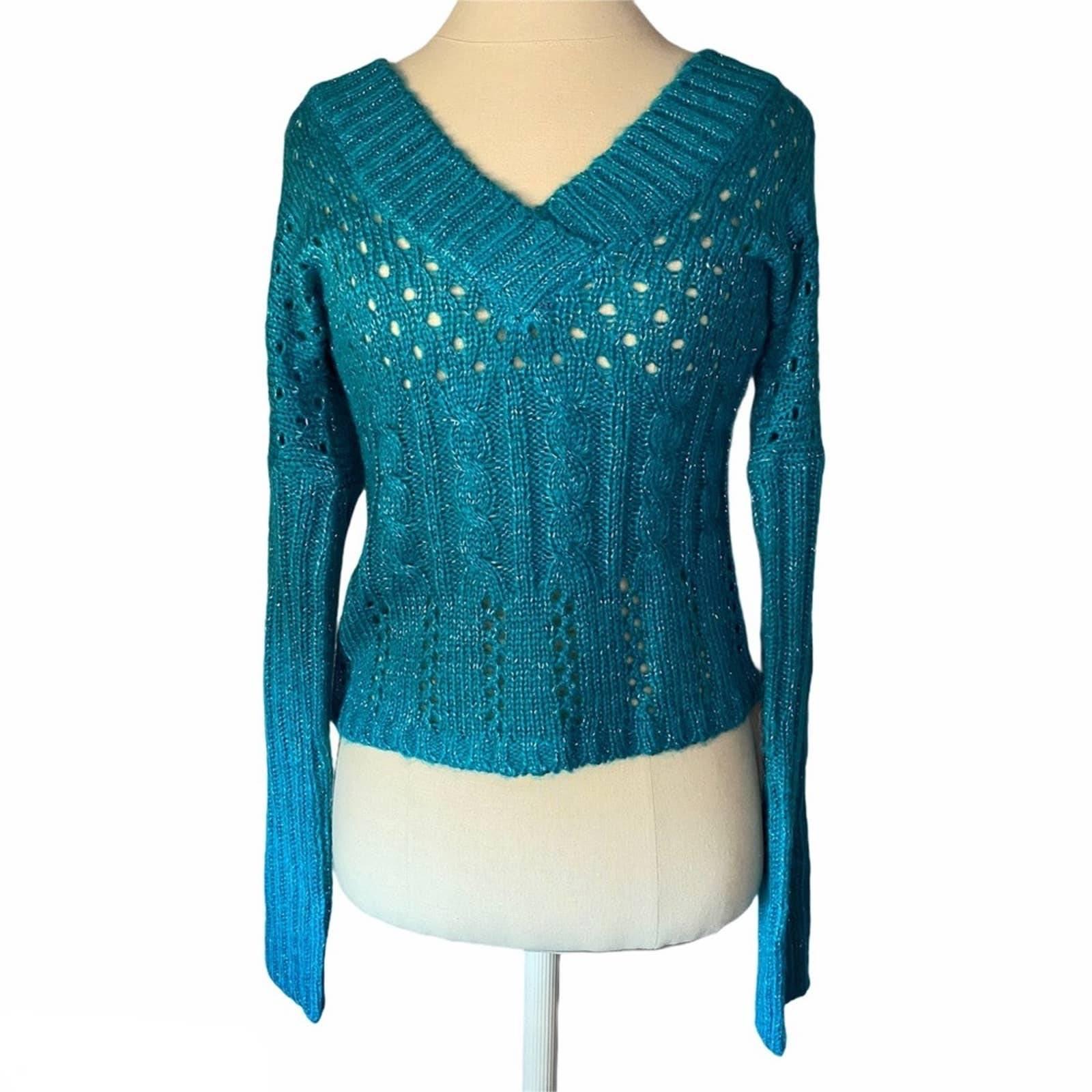 Wet Seal Metallic V-Neck Knit Sweater