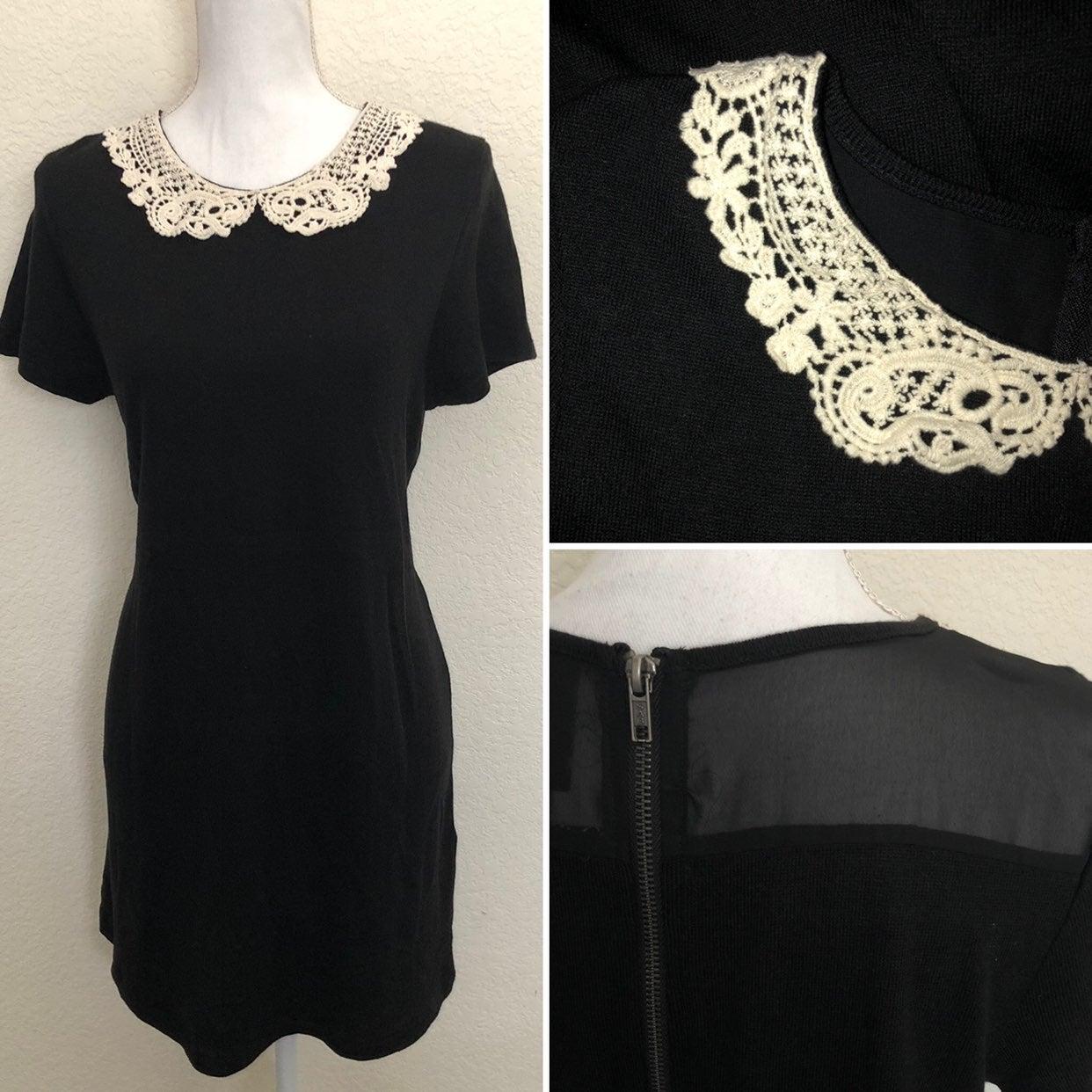 H&M Black Knit Crochet Collar Dress