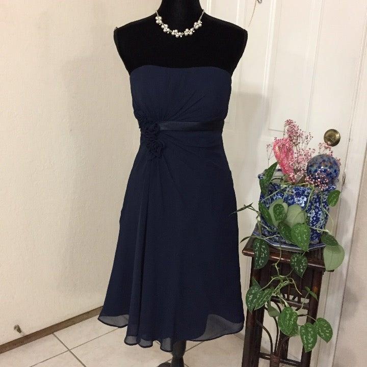 Bill Levkoff Blue Strapless Midi Dress