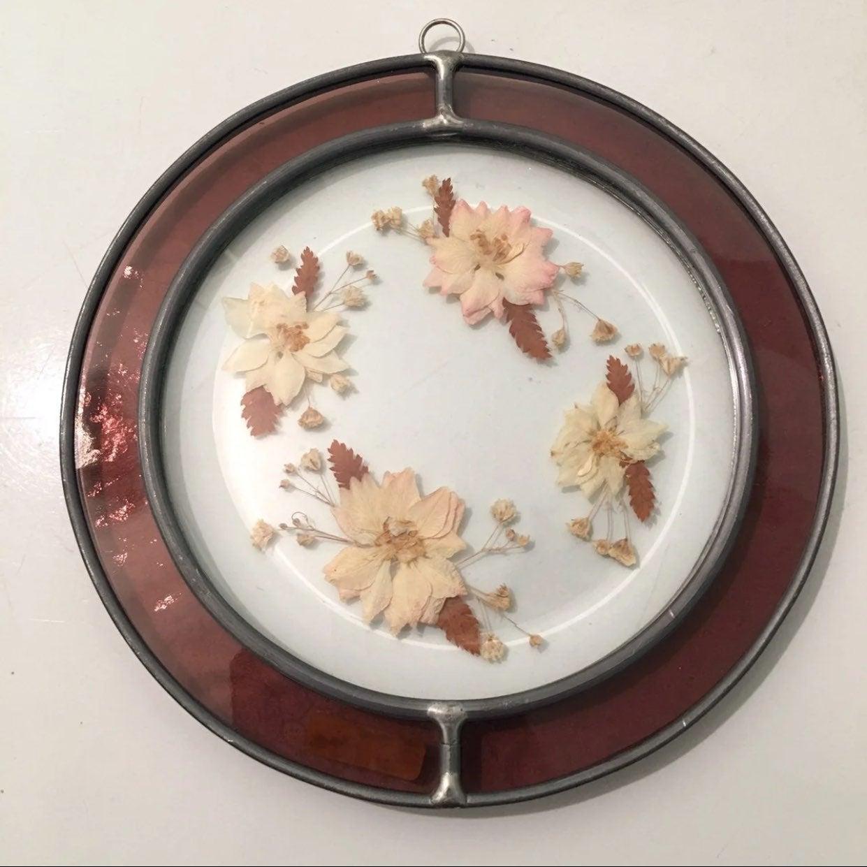 Vintage Pressed Flowers Suncatcher