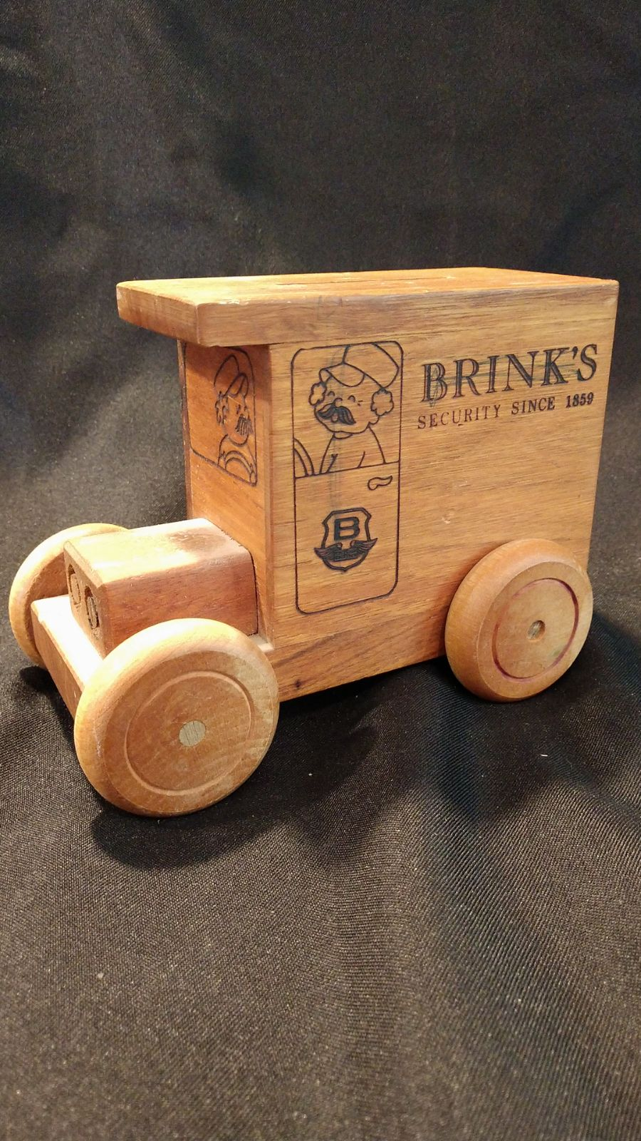 Vtg Brinks Security wooden coin truck