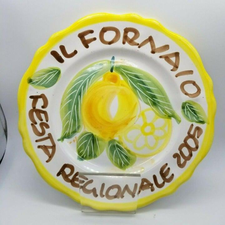 "Il Fornaio Festa Regionale 2005 Lemon 10"" Dinner Plate Made in Cerasella Italy"