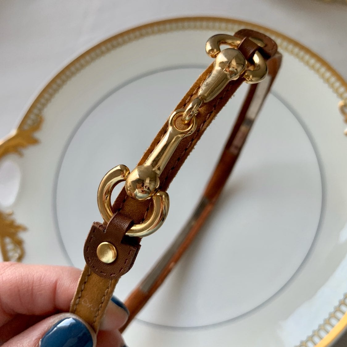 Brown and gold horse bit Gucci headband