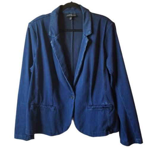 Lane Bryant Blue Jean Cotton Stretch Blazer Jacket Womens Size 22