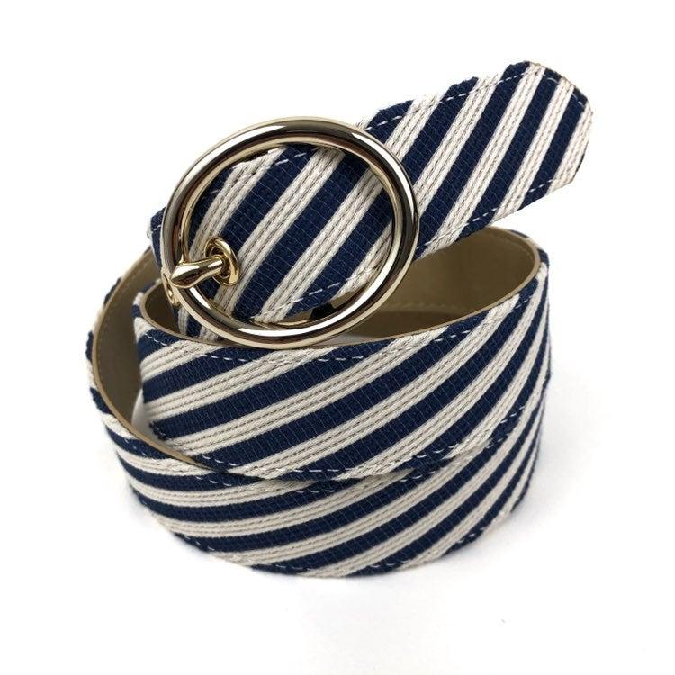 Talbots Linen Blend Striped Belt Size M