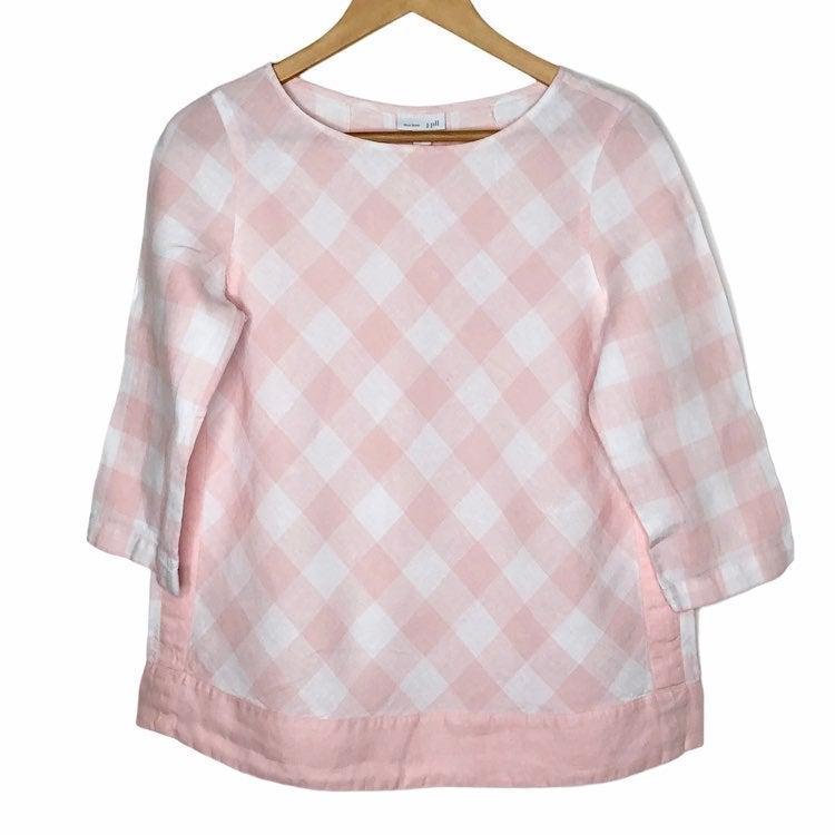 J. Jill Love Linen Plaid Tunic Top Pink