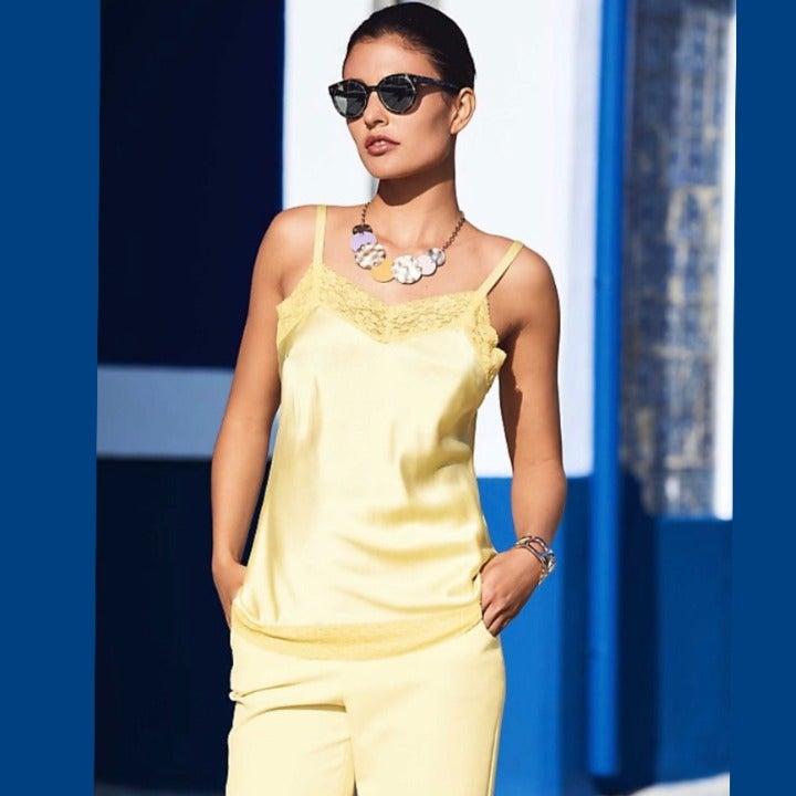 VTG Gold Floral Lace Sequin Cami Tank S