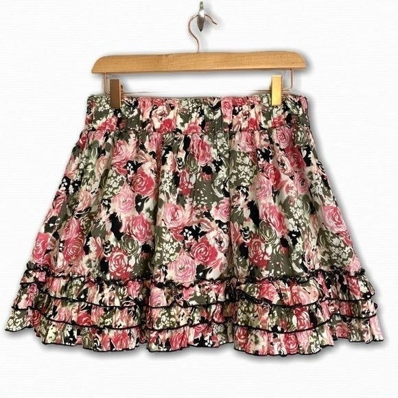Candies Ruffled Pink Floral Print Skirt