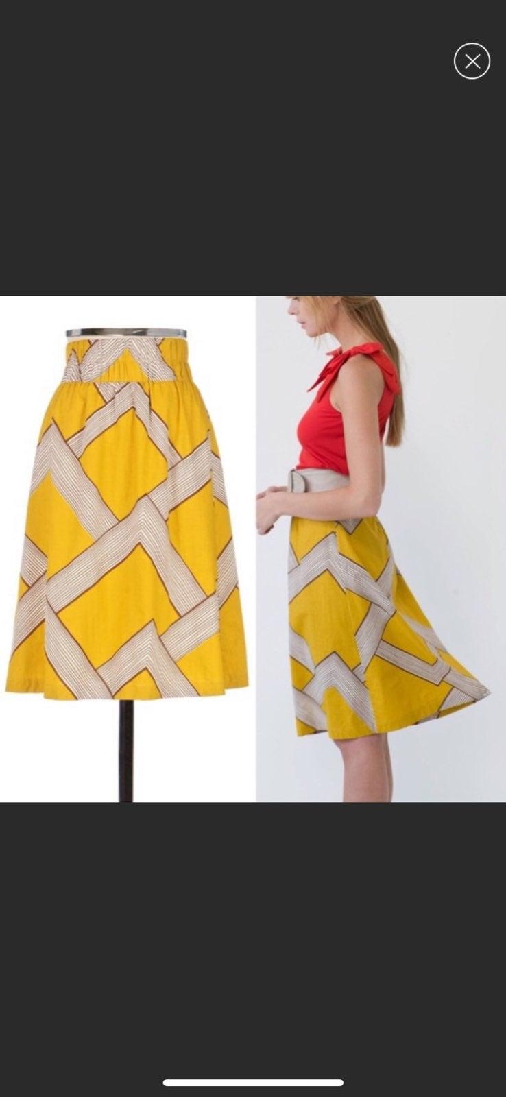 Barila {Anthro} Mid Century Yellow Skirt