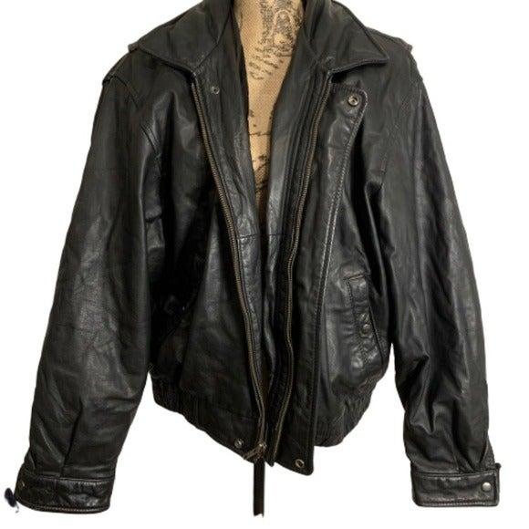 Vintage black leather zip up moto jacket