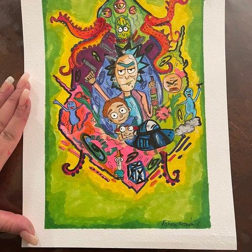 Rick and morty hand made art