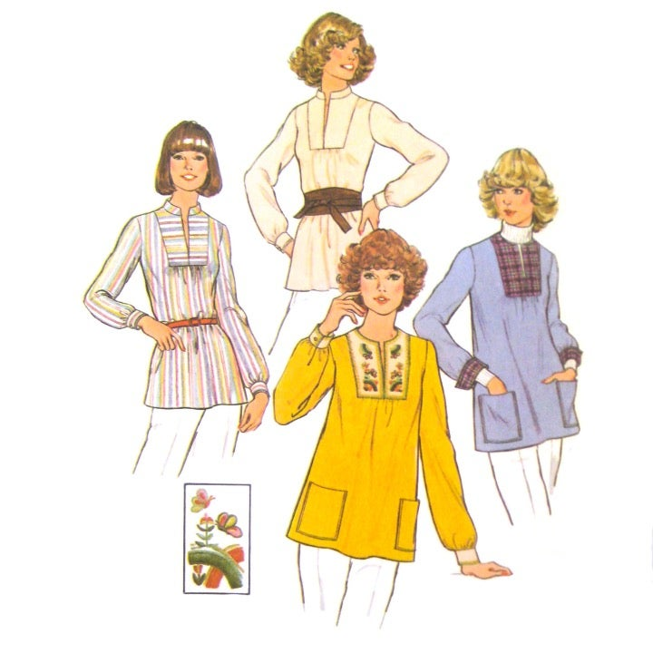 70s Simplicity 7627 Easy Pullover Top M