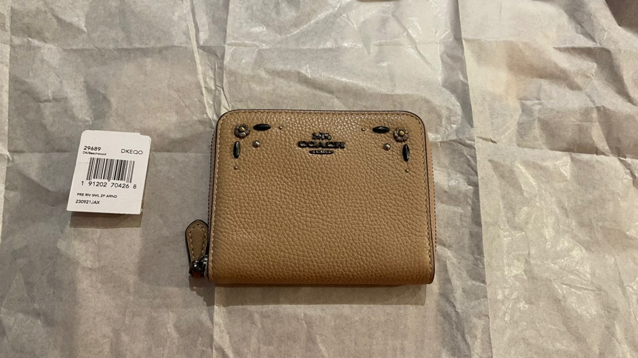 Coach Small Zip Around Wallet Rivets NWT