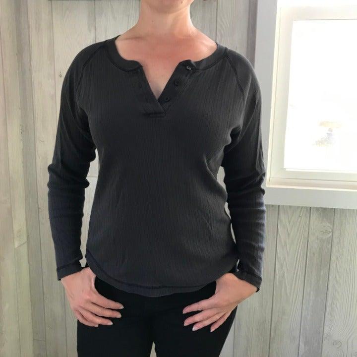 Dark Gray Long-Sleeve Henley