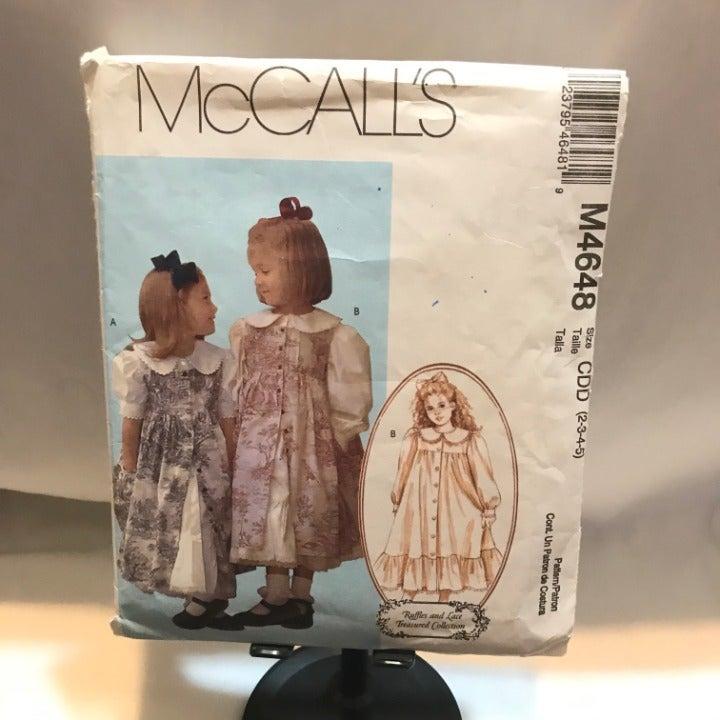 M4648 McCalls girls dress pattern